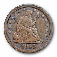 1848 25C Liberty Seated Quarter PCGS VF 20 Very Fine Tough Date