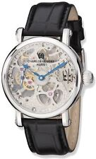 Charles Hubert Stainless Steel Black Strap Skeleton Mechanical Handwind Watch