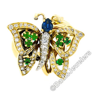 18K Yellow Gold 1.30ctw Sapphire Emerald & Diamond Open Butterfly Cocktail Ring