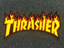 Thrasher Flame Logo Skateboard Sticker Medium 6in yellow si