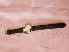 Classical Mickey Mouse Women Watch Transparent Hollow Dial Black Leather Watch