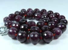 """AAA 8mm Faceted Garnet Red Gemstone Round Beads Necklace 18"""""""
