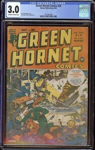 Green Hornet Comics # 20 CGC 3.0 OW/W (Harvey, 1944) Alex Schomburg WW2 cover