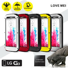 LOVE MEI Powerful Metal Shockproof Gorilla Glass Hybrid Armor Case LG G3