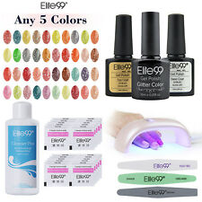 Pick 5 Colors Elite99 Glitter UV Gel Nail Polish Starter Kit Manicure LED Lamp
