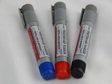 Refillable Whiteboard Dry wipe Marker Pens Bullet Tip, 3 Colours Black Blue Red