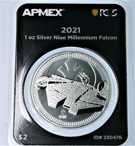2021 1 oz .999 silver Millennium Falcon Star Wars First Strike PCGS TEP