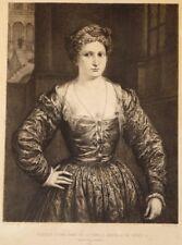Eau-forte de Paul RAJON d'ap Bordone, Portrait dame  famille Brignole de Gènes