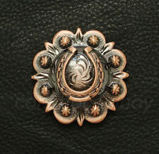 """WESTERN COPPER COLOR HORSE SHOE BERRY CONCHO 1-3/4"""" screw back"""