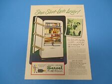 1948 Servel Gas Refrigerator Frozen Foods No Moving Parts Color Print Ad PA010