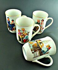 Norman Rockwell Museum Collection 1982 Coffee Mugs Cups Gold Trim Set Of 4