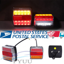 IP68 Pair 16LED Universal Submersible Trailer Rear Tail Lights Marker Lamps 12V