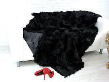 CUDDLY REAL TUSCAN  PELTS THROW BLANKET BLACK COLOUR,  200cm X 140cm, 819