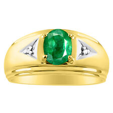 Mens Emerald & Diamond Ring 14K Yellow Gold May Birthstone
