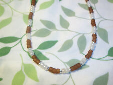 Handmade TAN & WHITE 15 inch Beaded NECKLACE CHOKER C-19 by Quality Jewelry