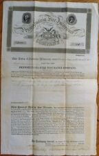 Fire Insurance 1825 Large Engraved Certificate/Policy, Ben Franklin-Pennsylvania