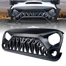 Xprite Shark Grill Front Grille Matte Black ABS for 07-18 Jeep Wrangler JK JKU