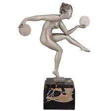 Art Deco French sculpture nude disc dancer Derenne, Marcel Bouraine 1930