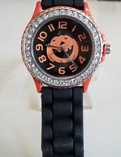 Silicone Halloween Pumpkin/ Rhinestone Girls Ladies Womens Quartz Wrist Watch