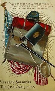 1911  Civil War Veteran Soldiers Embossed Series  postcard DECORATION DAY