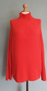 John Lewis Red Ribbed Knit High Neck Jumper/Pullover Size M