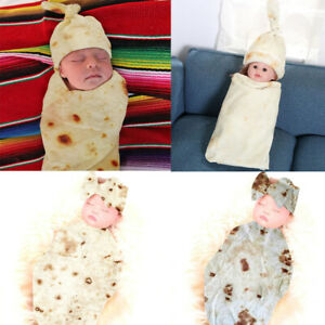 Warm Soft Burrito Newborn Baby Blanket Flour Tortilla Swaddle Sleeping Wrap Hat