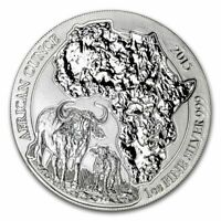 2015 Rwanda  50 RWF African Ounce Wildlife Cape Buffalo  1 oz .999 Silver Coin