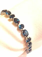 Vintage Handmade Genuine London Blue Topaz 925 Sterling Silver Bracelet