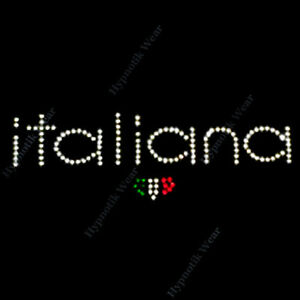 """Rhinestone Transfer """" Italiana """"  Iron On, Hotfix, Italian"""