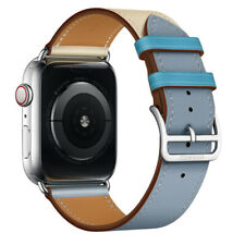 Hermes Apple Watch 44mm Bleu Lin/Craie/Bleu Nord Single Tour Leather BAND ONLY