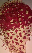 NUOVO-Accessori-Large-Square - rosso/Caramello/Oro Astratto Design Sciarpa Con Nappe