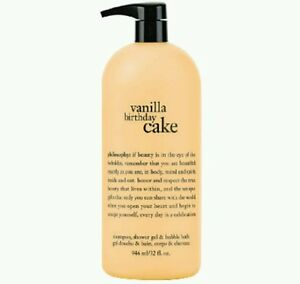 NEW + PUMP PHILOSOPHY VANILLA BIRTHDAY CAKE SHAMPOO SHOWER GEL BUBBLE BATH 32 OZ