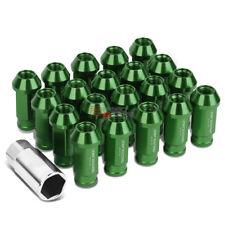 GREEN 50MM M12 X 1.5 ALUMINUM WHEEL RIM LOCK ACORN TUNER LUG NUTS+ADAPTER KEY