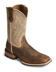 Ariat Quickdraw Western Cowboy Boots Bark Beige Wide Square Toe Mens Size 9 D