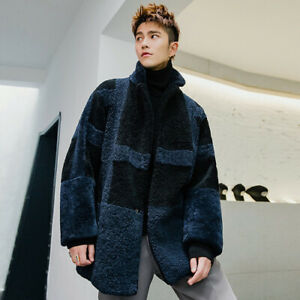 Men's Winter Real Fur One Men's Long Lamb Fur Coat Haining Leather Coat