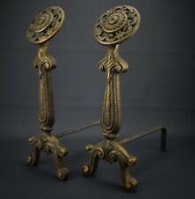 """Vintage Solid Cast Brass Decorative Andirons 19"""" Tall by 6.5"""" Each Marked #41"""