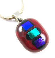 "DICHROIC PENDANT Glass Small Oval 1/2"" 12mm Ruby Red w/ Blue Green Purple Dots"