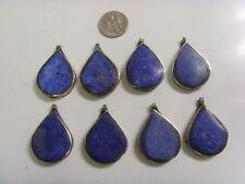 8 vintage logar tribal Lapis lazuli large leaf pendant lot belly dance ats 49566
