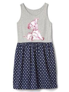 New Gap Kids GirlDisney Dalmantia Gray Blue Polka Dot Cotton Tank Dress 12