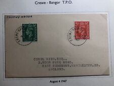 1947 Bangor Crewe England Postcard Cover Traveling Post Office To Manchester