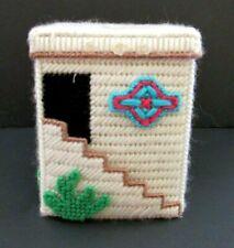 Handmade Crochet Needlepoint Cactus Tissue Box Beige Holder
