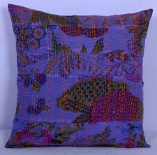 """16"""" KANTHA FLORAL PATCHWORK PILLOW CUSHION COVER Throw Decor Indian Ethnic Art"""