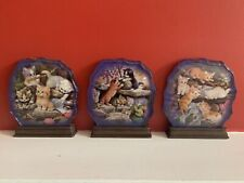 3 Jurgen Scholz Crystal Kittens bradford exchange collectable plates