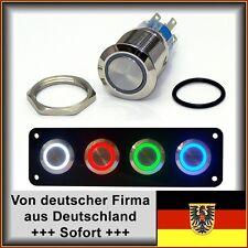 Druckschalter 22mm LED blau, für Wohnwagen Boot, Edelstahl