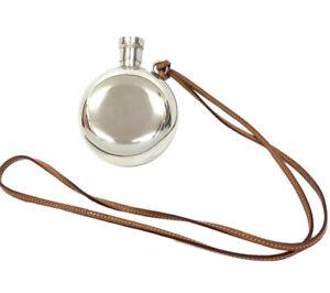 HERMES FLASK GALET IN THE POCKET &strap skittle whiskey bottle silver 925 Used