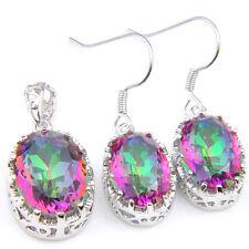 Natural Handmade Jewelry 2 pcs 1 lot Mystic Fire Topaz Silver Pendant Earrings