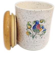 Barattolo Tiffany Ceramica Tappo Legno Uccellino Jar Fruit Ceramic Wood Nuovo