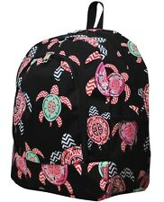 Sea Turtle Anchor Print Backpack Girls Black