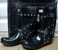Hunter Limited Stud Buckle Festival Short Black Rubber Biker Boots US8 EU39 EUC