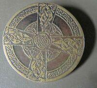 vintage celtic knot beast cross bronze & gold tone brooch -A520